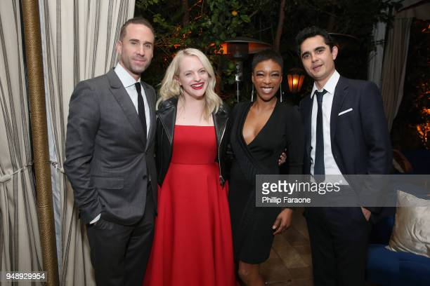 Joseph Fiennes Elisabeth Moss Samira Wiley and Max Minghella attend the premiere of Hulu's The Handmaid's Tale Season 2 at Chateau Marmont on April...