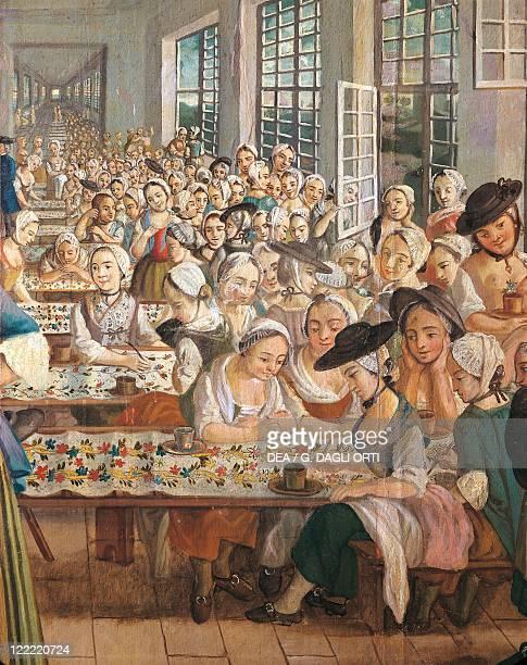 Joseph Gabriel Maria Rossetti Brothers Wetter Textile Factory at Orange 1764 Detail women painting on fabrics