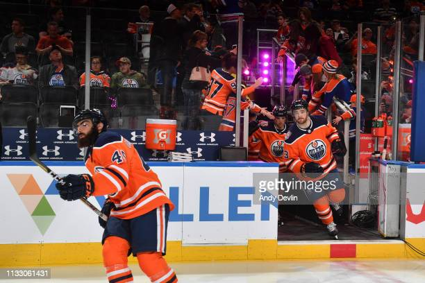 Joseph Gambardella and Josh Currie and of the Edmonton Oilers take to the ice prior to the game against the Los Angeles Kings on March 26 2019 at...