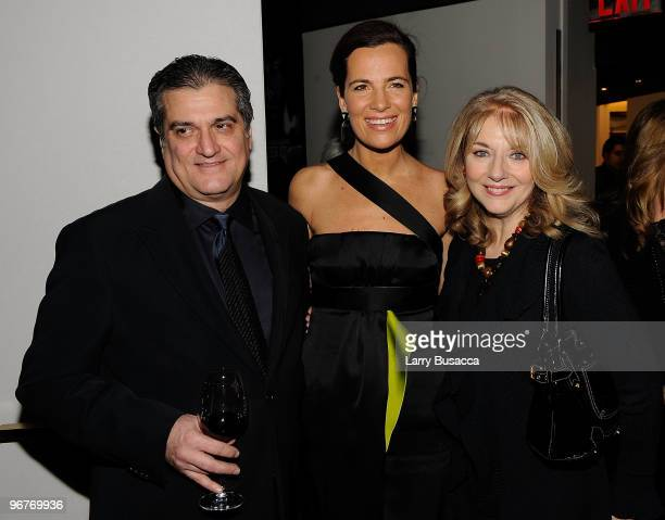 Joseph Germanotta father of Lady Gaga Roberta Armani and Cynthia Germanotta mother of Lady Gaga attend the cocktail party to celebrate the New York...