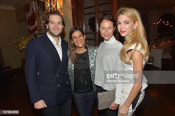 Joseph Getty Aileen Getty Julie Mills and Sabine Ghanem attend the Sabine G Jewelry Dinner at Balthazar and Rosetta Getty's home on November 8 2013...