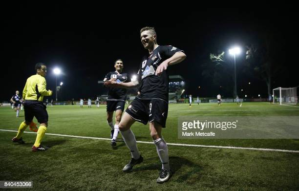 Joseph Gibbs of Blacktown City celebrates scoring a goal during the round of 16 FFA Cup match between Blacktown City and APIA Leichhardt Tigers at...