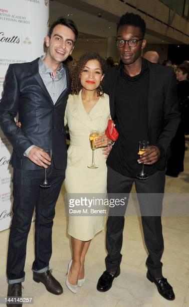 Joseph Gilgun Antonia Thomas and Nathan StewartJarrett attend the Arqiva British Academy Television Awards Nominees Party at Coutts Bank on May 10...