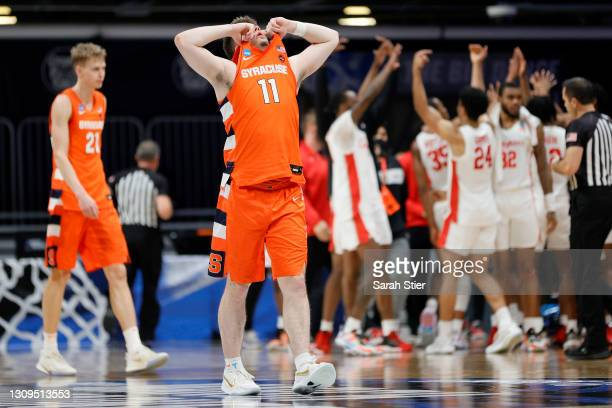 Joseph Girard III of the Syracuse Orange reacts after losing 62-46 to the Houston Cougars in their Sweet Sixteen game of the 2021 NCAA Men's...