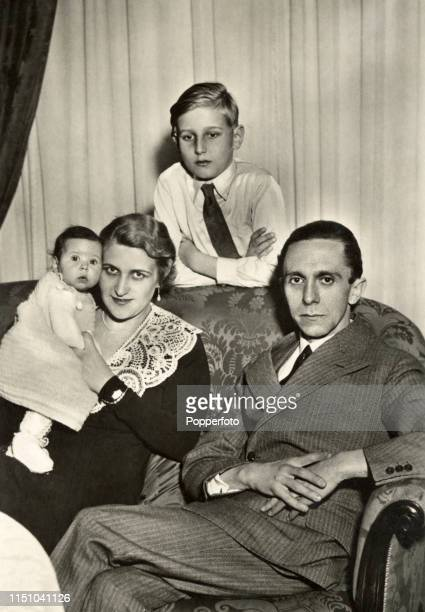 Joseph Goebbels a powerful member of the Nazi party its Minister for Propaganda responsible for the Holocaust with his wife Magda and two of his six...