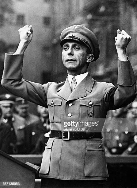 Joseph Goebbels, Nazi Germany's Reich Minister of Public Enlightenment and Propaganda, speaking at a SA roll call in the Berlin 'Lustgarten' -