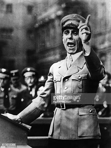 Joseph Goebbels , the German Minister for Propaganda and Nazi orator, addresses an audience, ca. 1940.