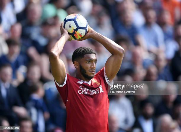 Joseph Gomez of Liverpool prepares to take a throwin during the Premier League match between West Bromwich Albion and Liverpool at The Hawthorns on...