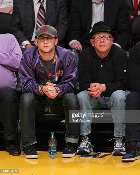 Joseph GordonLevitt and his father Dennis Levitt attend a basketball game between the Minnesota Timberwolves and the Los Angeles Lakers at Staples...