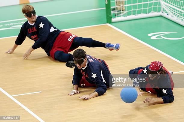 Joseph Hamilton, Tyler Merren and John Kusku of United States in action during Goalball - Men's Preliminary - Group B match between United States and...