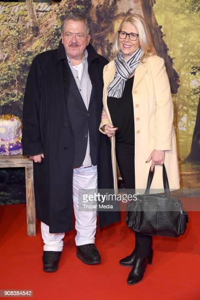 Joseph Hannesschlaeger and his girlfriend Bettina Geyer attend the 'Die kleine Hexe' Premiere at Mathaeser Filmpalast on January 21, 2018 in Munich,...