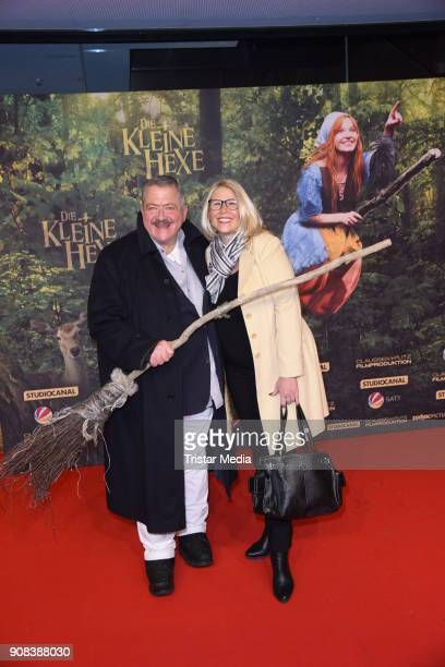Joseph Hannesschlaeger and his girlfriend Bettina Geyer attend the 'Die kleine Hexe' Premiere at Mathaeser Filmpalast on January 21 2018 in Munich...