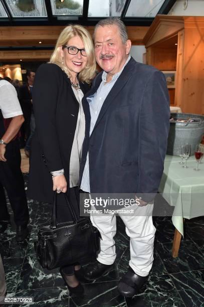 Joseph Hannesschlaeger and his girlfriend Bettina Geyer during the 'La Dolce Vita Grillfest' at Gruenwalder Einkehr on July 25, 2017 in Munich,...