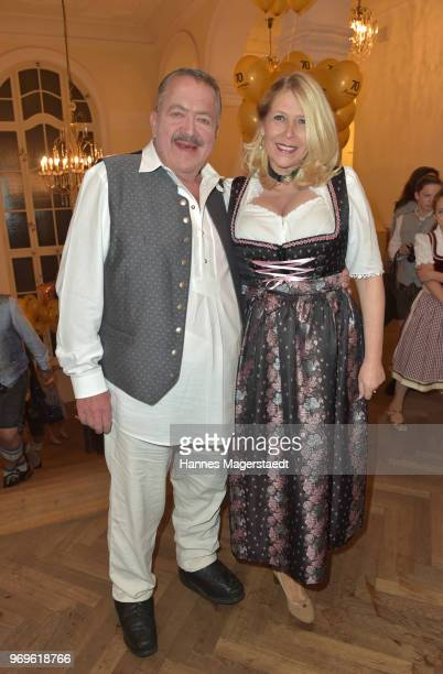 Joseph Hannesschlaeger and his girlfriend Bettina Geyer during the 70th anniversary celebration of the clothing company Angermaier at Deutsches...