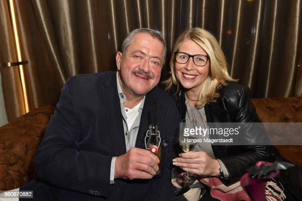 Joseph Hannesschlaeger and his partner Bettina Geyer during the 'Ghostsitter' event at Palais Lenbach on October 12, 2017 in Munich, Germany.