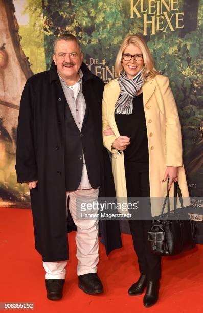 Joseph Hannesschlaeger and his partner Bettina Geyerduring the 'Die kleine Hexe' premiere at Mathaeser Filmpalast on January 21 2018 in Munich Germany