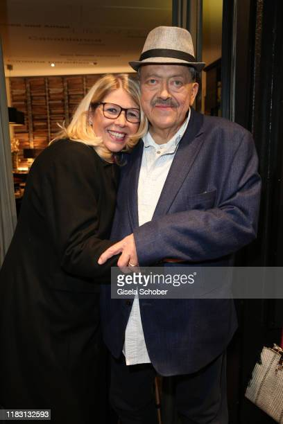 """Joseph Hannesschlaeger and his wife Bettina Geyer during the premiere of the film """"Schmucklos"""" at Rio Filmpalast on November 17, 2019 in Munich,..."""