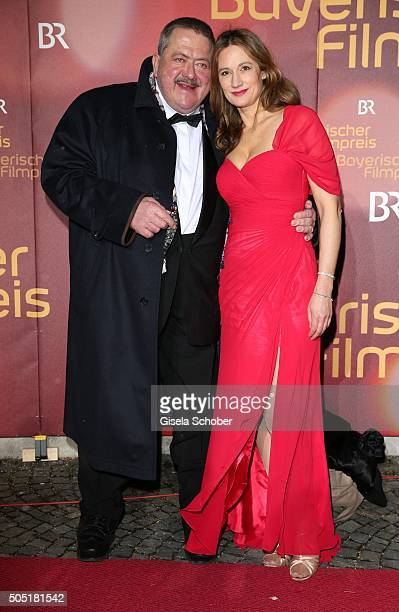 Joseph Hannesschlaeger and partner Tanja Kindler during the Bavarian Film Award 2016 at Prinzregententheater on January 15 2016 in Munich Germany