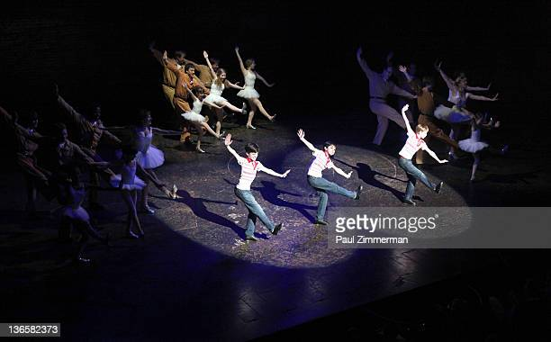 Joseph Harrington Julian Elia and Tade Biesinger perform during Billy Elliot on Broadway final performance at the Imperial Theatre on January 8 2012...