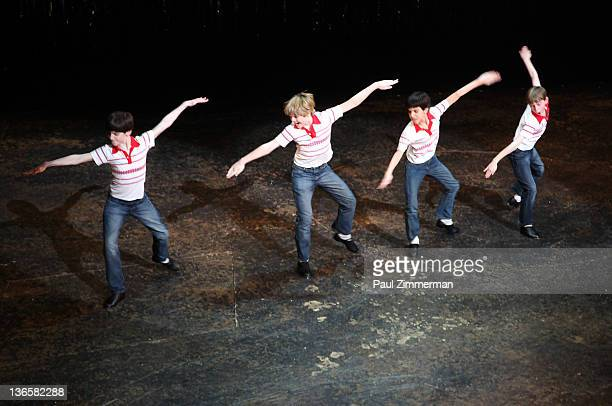 Joseph Harrington Peter Mazurowski Julian Elia and Tade Biesinger attend the Billy Elliot on Broadway final performance at the Imperial Theatre on...