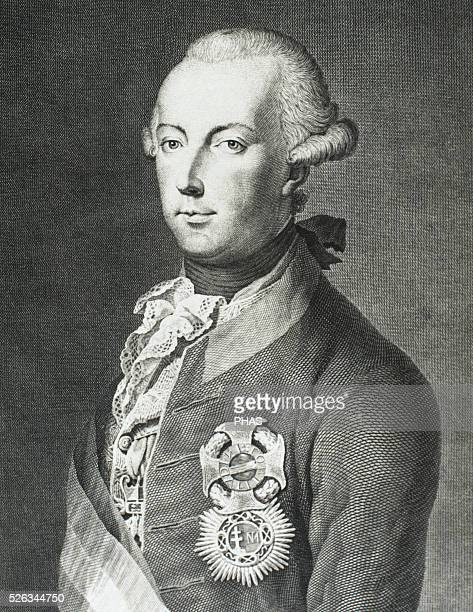 Joseph II . Holy Roman Emperor from 1765-1790. Portrait. Engraving. 19th century.