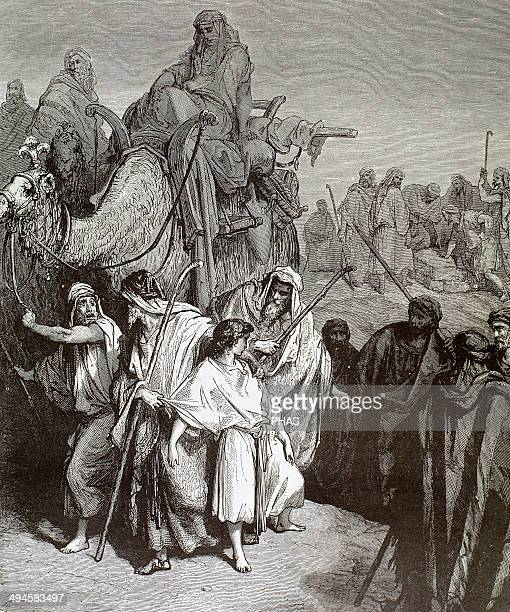 Joseph is sold into slavery in Egypt by his brothers Engraving by Gustave Dore 19th century