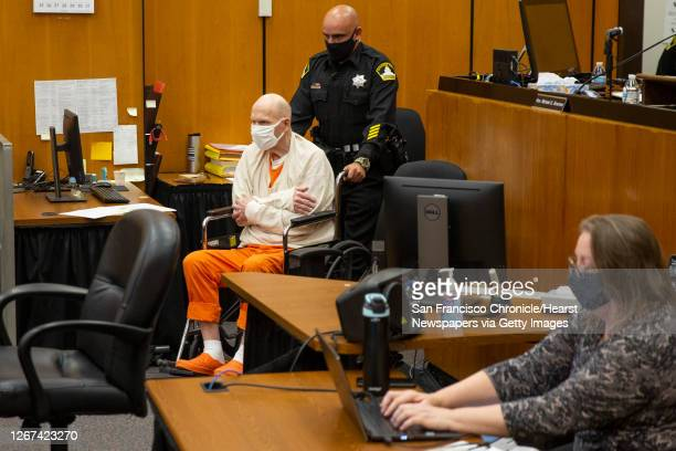 Joseph James DeAngelo in a wheelchair is brought into the courtroom for the third day of victim impact statements at the Gordon D. Schaber Sacramento...