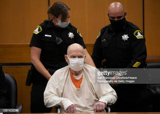 Joseph James DeAngelo in a wheelchair is brought out of the courtroom for a break in the schedule for the third day of victim impact statements at...