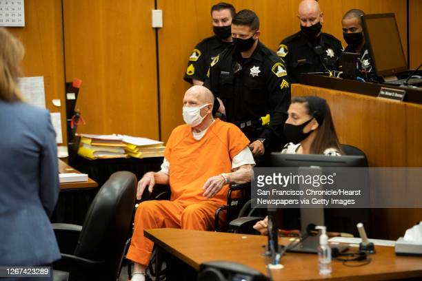 Joseph James DeAngelo is brought to the court room for the first day of victim impact statements at the Gordon D. Schaber Sacramento County...