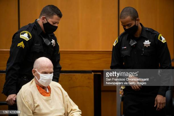 "Joseph James DeAngelo is brought to the courtroom by Sacramento County Sheriff""u2019s deputies after a break to resume the second day of victim..."