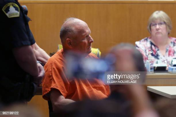 Joseph James DeAngelo is taken on a wheel chair into the courtroom to be arraigned on two counts of murder April 27 in Sacramento California...