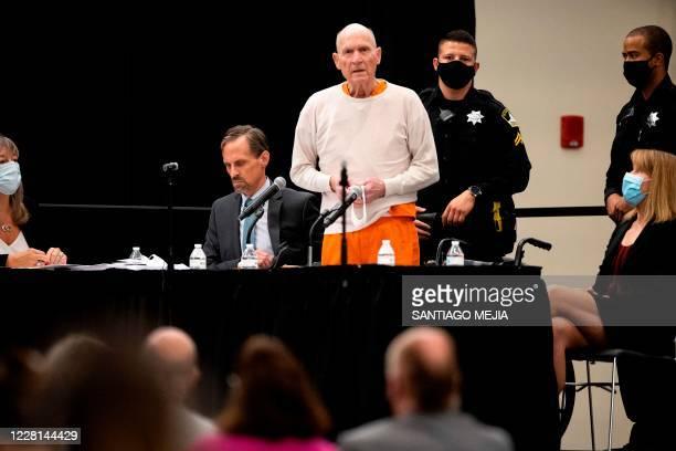 Joseph James DeAngelo, Jr., speaks at his sentencing hearing held in Sacramento, California, on August 21, 2020. - DeAngelo, a former policeman...