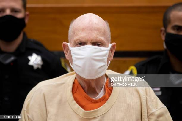 Joseph James DeAngelo looks on during the second day of victim impact statements at the Gordon D. Schaber Sacramento County Courthouse on August 19...