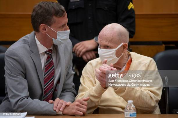Joseph James DeAngelo speaks with public defender Joseph Cress at the end of the second day of victim impact statements at the Gordon D. Schaber...