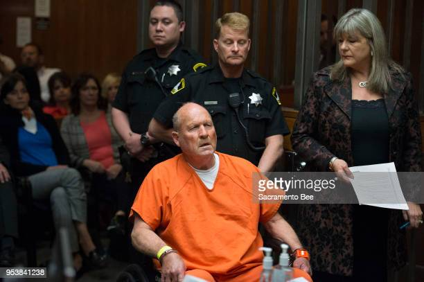 Joseph James DeAngelo the suspected East Area Rapist is arraigned in a Sacramento courtroom and charged with murdering Katie and Brian Maggiore in...