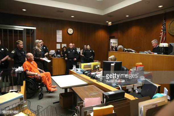 Joseph James DeAngelo the suspected Golden State Killer appears in court for his arraignment before Judge Michael Sweet on April 27 2018 in...
