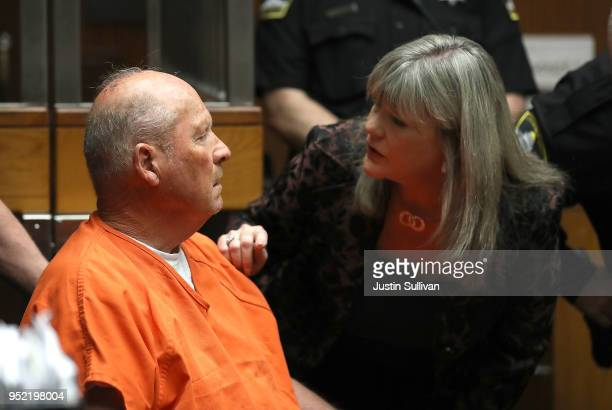 Joseph James DeAngelo the suspected Golden State Killer talks with public defender Diane Howard as he appears in court for his arraignment on April...