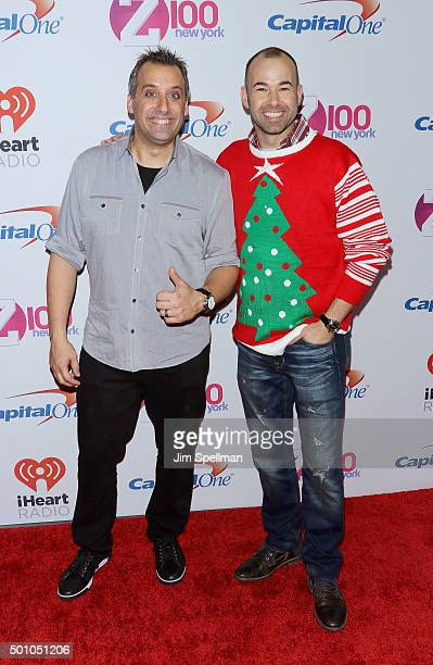 Joseph 'Joe' Gatto and James 'Murr' Murray of Impractical Jokers attend the Z100's iHeartRadio Jingle Ball 2015 at Madison Square Garden on December...