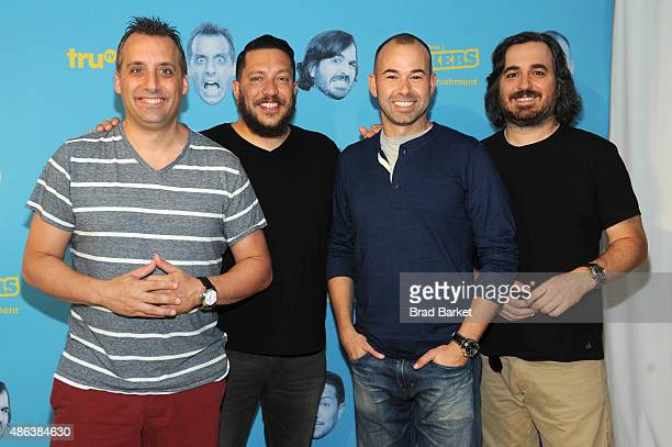 Joseph Joe Gatto Salvatore Sal Vulcano James Murr Murray and Brian Q Quinn attend the Impractical Jokers 100th Episode Live Punishment Special at the...