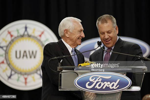 Joseph Joe Hinrichs executive vice president and president of the Americas for Ford Motor Co right and Steven Steve Beshear governor of Kentucky...