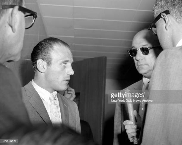 Joseph Joey Gallo also known as Crazy Joe and Joe The Blond at Supreme Court Grand Jury room in Brooklyn being interviewed with Joe Abbatemarco in...