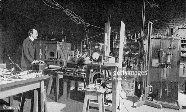 Joseph John Thomson British physicist, discoverer of Electron and pioneer of nuclear physics. Here at work in the Cavendish Laboratory, Cambridge..