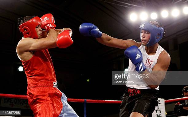 Joseph Joyce in action with Frazer Clarke during their 91kg bout during the 2012 ABA Elite Championship Finals at York Hall on April 13 2012 in...