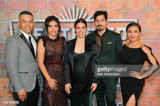 Joseph Julian Soria Karrie Martin America Ferrera Carlos Santos and Annie Gonzalez attends the premiere of Netflix's Gentefied at Plaza de la Raza on...
