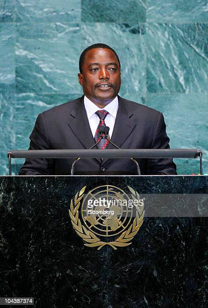 Joseph Kabila president of the Congo speaks during the 65th annual United Nations General Assembly at the UN in New York US on Thursday Sept 23 2010...