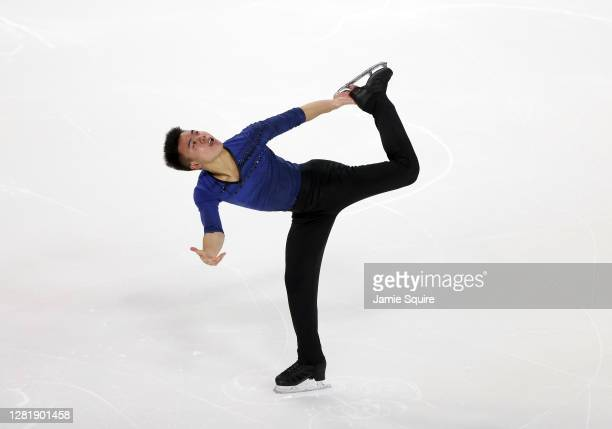 Joseph Kang of the USA competes in the Mens Short Program during the ISU Grand Prix of Figure Skating at the Orleans Arena on October 23, 2020 in Las...