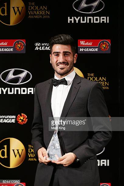 Joseph Katebian of Melbourne Victory poses with the Foxtel National Youth League Top Goal Scorer of the Year Award during the 2016 FFA Dolan Warren...