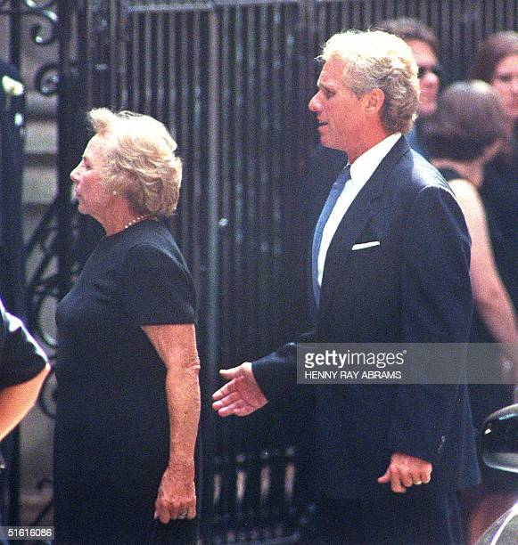 Joseph Kennedy and his mother Ethel Kennedy arrive 23 July 1999 at the Church of St Thomas More for a memoral Mass for John F Kennedy Jr and his wife...