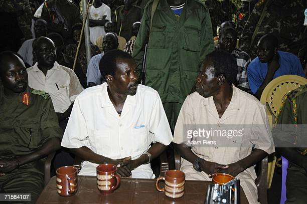 Joseph Kony, head of the Lords Resistance Army , and his second in charge, Vincent Otti, await the start of peace talks with delegations representing...