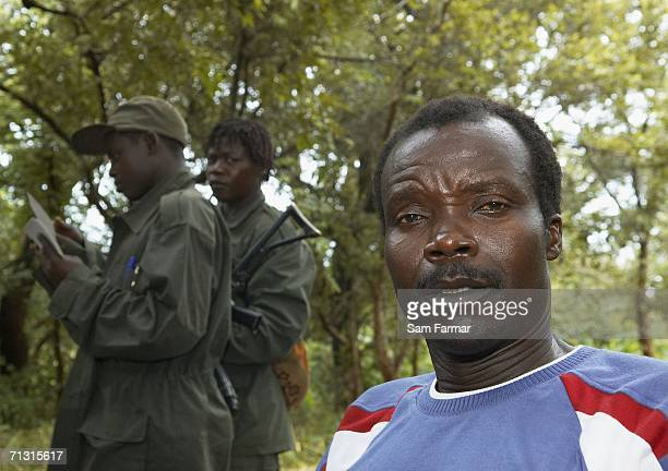 Joseph Kony the leader of the Ugandan rebel group the Lord's Resistance Army ltalks during a rare meeting with journalists in this photo taken on...